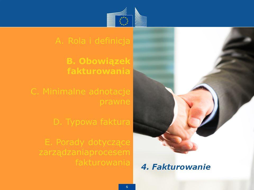 A.Rola i definicja B. Obowiązek fakturowania C. Minimalne adnotacje prawne D.