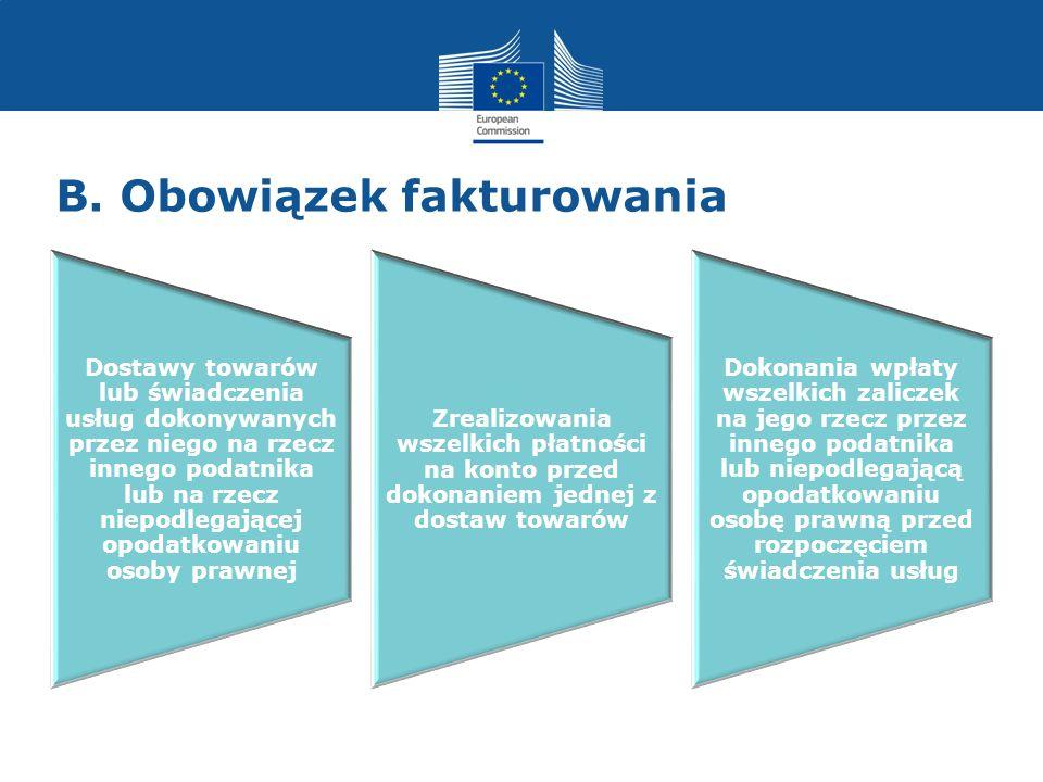 B. Obowiązek fakturowania Dostawy towarów lub świadczenia usług dokonywanych przez niego na rzecz innego podatnika lub na rzecz niepodlegającej opodat