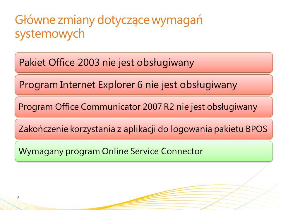 Główne zmiany dotyczące wymagań systemowych 6 Pakiet Office 2003 nie jest obsługiwanyProgram Internet Explorer 6 nie jest obsługiwany Program Office Communicator 2007 R2 nie jest obsługiwanyZakończenie korzystania z aplikacji do logowania pakietu BPOSWymagany program Online Service Connector