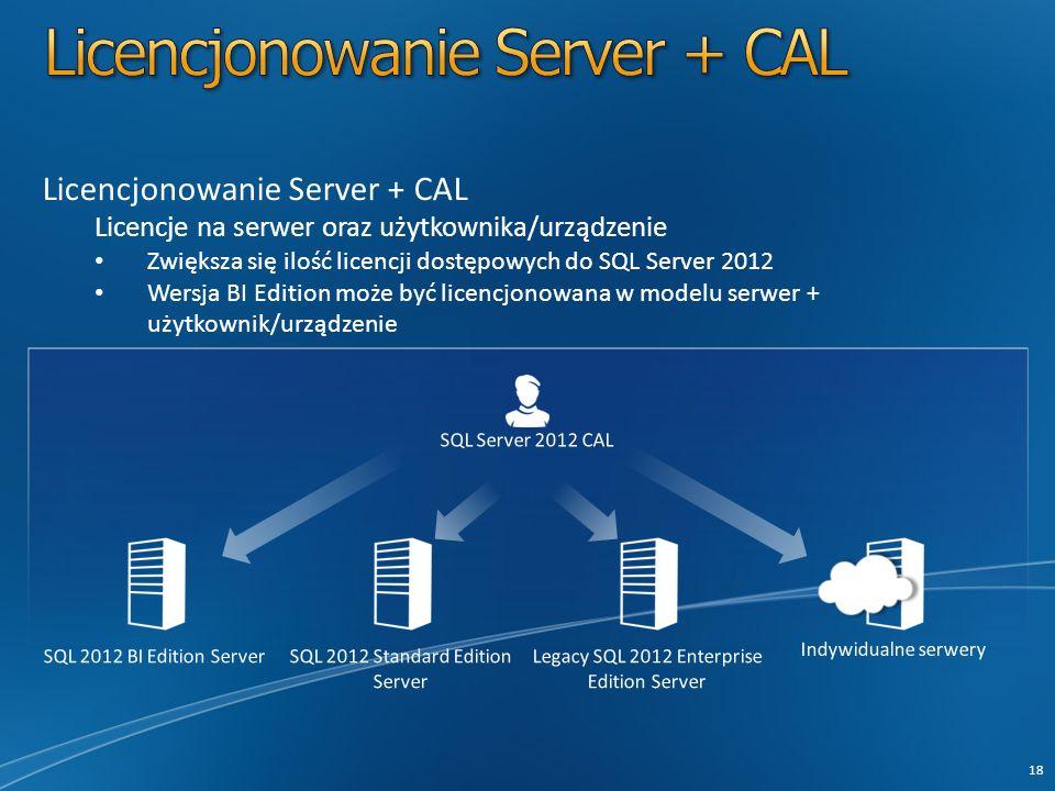 Licencjonowanie Server + CAL Licencje na serwer oraz użytkownika/urządzenie Zwiększa się ilość licencji dostępowych do SQL Server 2012 Wersja BI Edition może być licencjonowana w modelu serwer + użytkownik/urządzenie 18