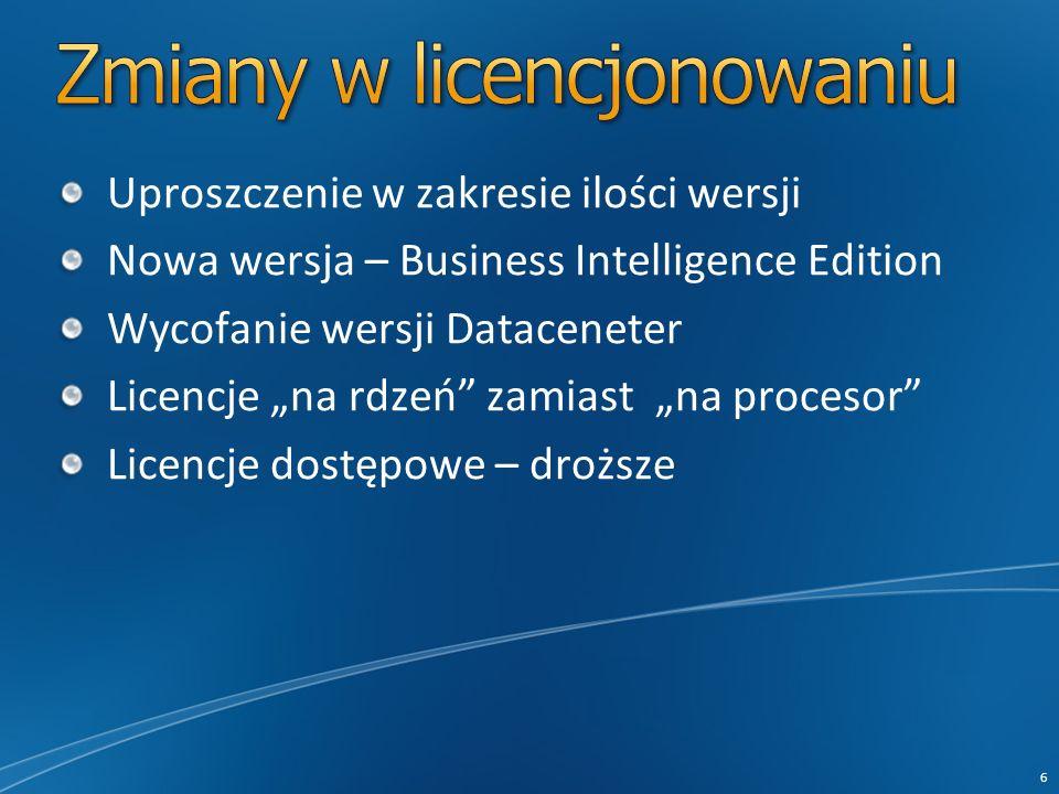 6 Uproszczenie w zakresie ilości wersji Nowa wersja – Business Intelligence Edition Wycofanie wersji Dataceneter Licencje na rdzeń zamiast na procesor Licencje dostępowe – droższe