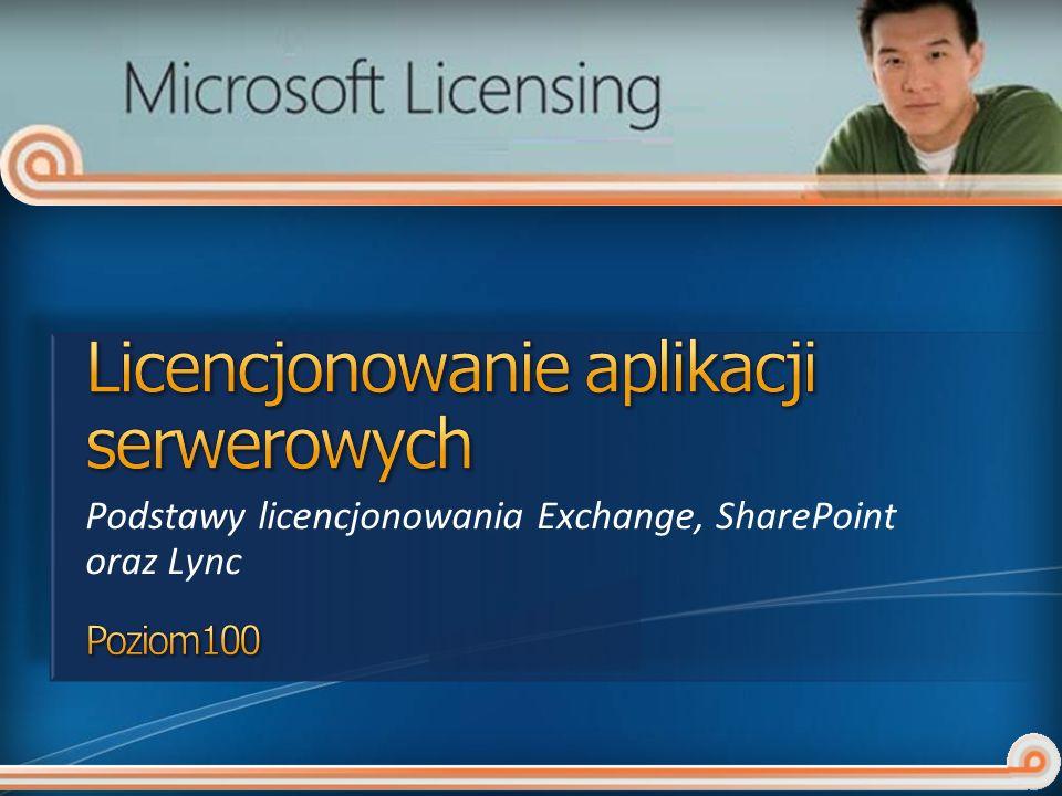 SharePoint Server 2010: Jeden numer SKU dla serwera, dwa dla licencji dostępowych CAL (Standard oraz Enterprise) Licencjonowany za pomocą licencji dostępowych Standard oraz Enterprise Wymaganie na licencje dostępowe jest zależne od wykorzystywanej funkcjonalności Licencje dostępowe Enterprise dokupowane są dodatkowo do licencji Standard Licencje CAL w wersji nie niższej niż serwer SharePoint Server 2010: Jeden numer SKU dla serwera, dwa dla licencji dostępowych CAL (Standard oraz Enterprise) Licencjonowany za pomocą licencji dostępowych Standard oraz Enterprise Wymaganie na licencje dostępowe jest zależne od wykorzystywanej funkcjonalności Licencje dostępowe Enterprise dokupowane są dodatkowo do licencji Standard Licencje CAL w wersji nie niższej niż serwer SharePoint Server 2010 for Internet Sites (Standard lub Enterprise) Licencjonowany w modelu na serwer Nie są wymagane licencje dostępowe Dostęp do całej zawartości, informacji oraz aplikacji muszą uzyskiwać użytkownicy zewnętrzni SharePoint Server 2010 for Internet Sites (Standard lub Enterprise) Licencjonowany w modelu na serwer Nie są wymagane licencje dostępowe Dostęp do całej zawartości, informacji oraz aplikacji muszą uzyskiwać użytkownicy zewnętrzni FAST Search for SharePoint 2010: Licencjonowanie na Serwer Wymaga SharePoint Server 2010 oraz licencj dostępowych SharePoint Standard oraz Enterprise FAST Search for SharePoint 2010: Licencjonowanie na Serwer Wymaga SharePoint Server 2010 oraz licencj dostępowych SharePoint Standard oraz Enterprise SharePoint Foundation 2010: Bezpłatne, do pobrania SharePoint Designer 2010: Bezpłatne, do pobrania