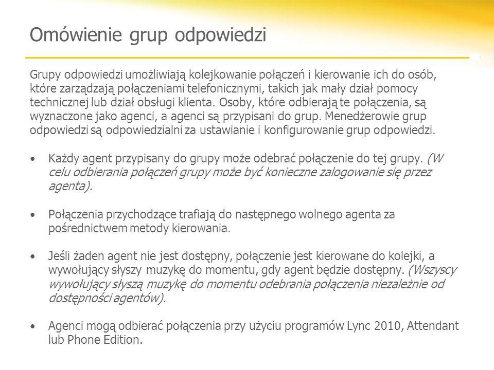 Omówienie grup odpowiedzi Grupy odpowiedzi umożliwiają kolejkowanie połączeń i kierowanie ich do osób, które zarządzają połączeniami telefonicznymi, takich jak mały dział pomocy technicznej lub dział obsługi klienta.