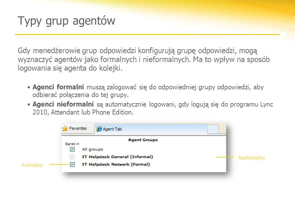 Typy grup agentów Gdy menedżerowie grup odpowiedzi konfigurują grupę odpowiedzi, mogą wyznaczyć agentów jako formalnych i nieformalnych.
