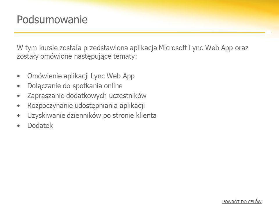 Podsumowanie W tym kursie została przedstawiona aplikacja Microsoft Lync Web App oraz zostały omówione następujące tematy: Omówienie aplikacji Lync We