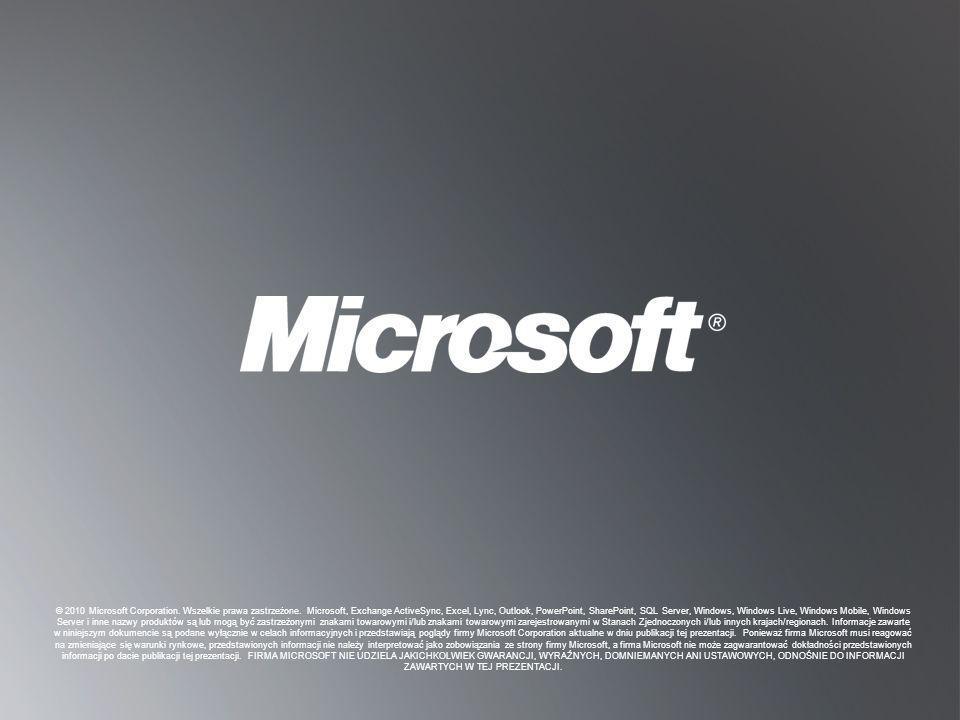 P OWRÓT DO CELÓW P OWRÓT DO CELÓW © 2010 Microsoft Corporation. Wszelkie prawa zastrzeżone. Microsoft, Exchange ActiveSync, Excel, Lync, Outlook, Powe