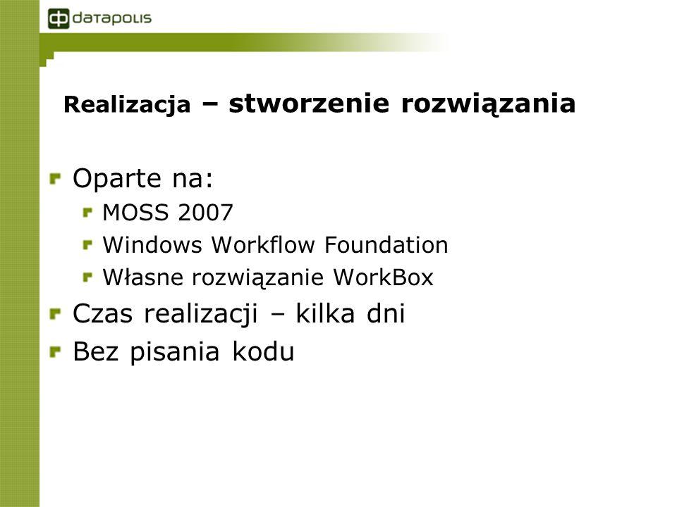 Realizacja – stworzenie rozwiązania Oparte na: MOSS 2007 Windows Workflow Foundation Własne rozwiązanie WorkBox Czas realizacji – kilka dni Bez pisania kodu