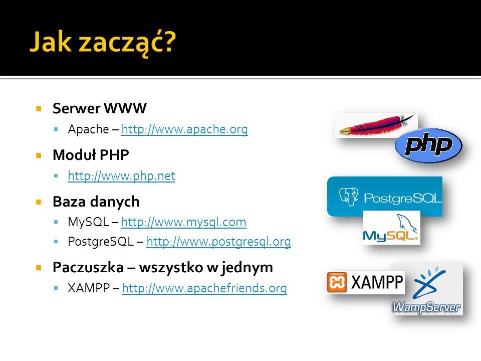 Serwer WWW Apache – http://www.apache.orghttp://www.apache.org Moduł PHP http://www.php.net Baza danych MySQL – http://www.mysql.comhttp://www.mysql.c