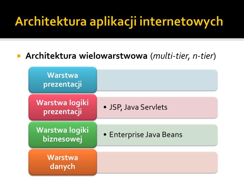 Architektura wielowarstwowa (multi-tier, n-tier) Warstwa prezentacji JSP, Java Servlets Warstwa logiki prezentacji Enterprise Java Beans Warstwa logik