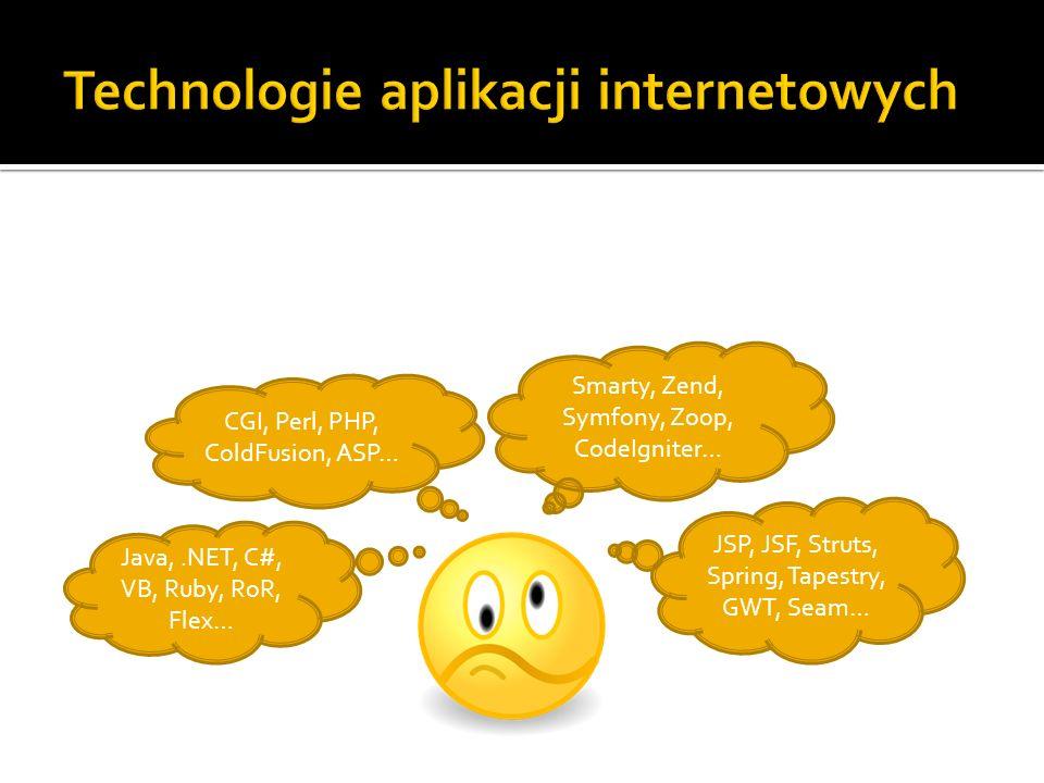 Smarty, Zend, Symfony, Zoop, CodeIgniter… Java,.NET, C#, VB, Ruby, RoR, Flex… JSP, JSF, Struts, Spring, Tapestry, GWT, Seam… CGI, Perl, PHP, ColdFusio