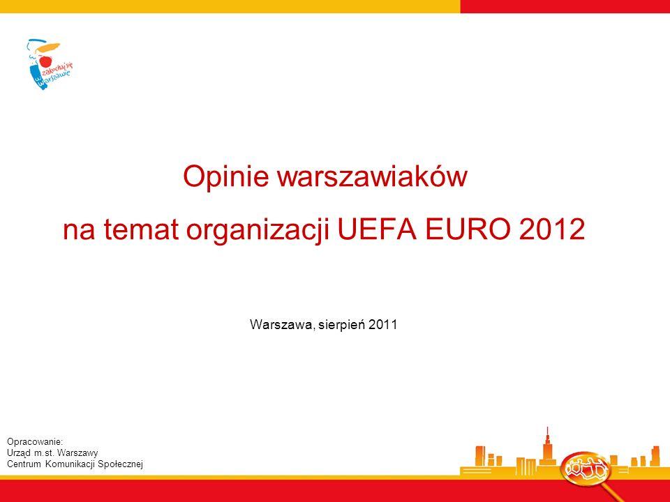 Opinie warszawiaków na temat organizacji UEFA EURO 2012 Warszawa, sierpień 2011 Opracowanie: Urząd m.st.