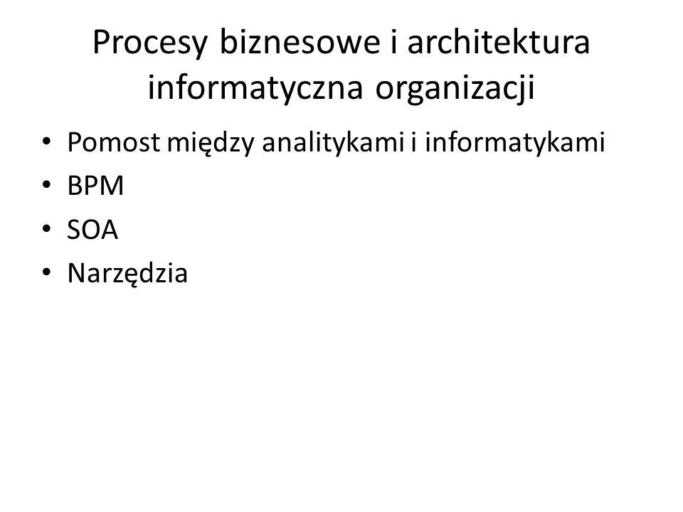 Procesy biznesowe i architektura informatyczna organizacji Pomost między analitykami i informatykami BPM SOA Narzędzia
