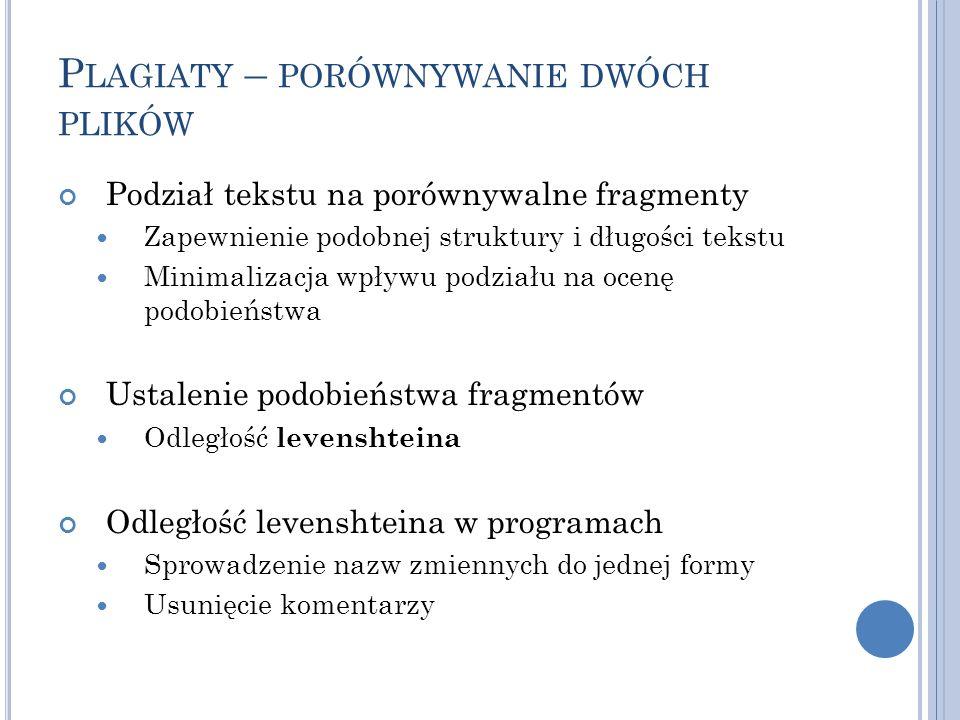 P LAGIATY – PORÓWNYWANIE DWÓCH PLIKÓW Podział tekstu na porównywalne fragmenty Zapewnienie podobnej struktury i długości tekstu Minimalizacja wpływu p
