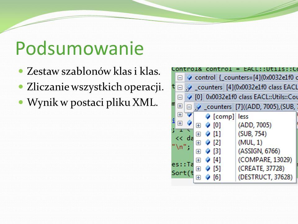 Podsumowanie Zestaw szablonów klas i klas. Zliczanie wszystkich operacji. Wynik w postaci pliku XML.