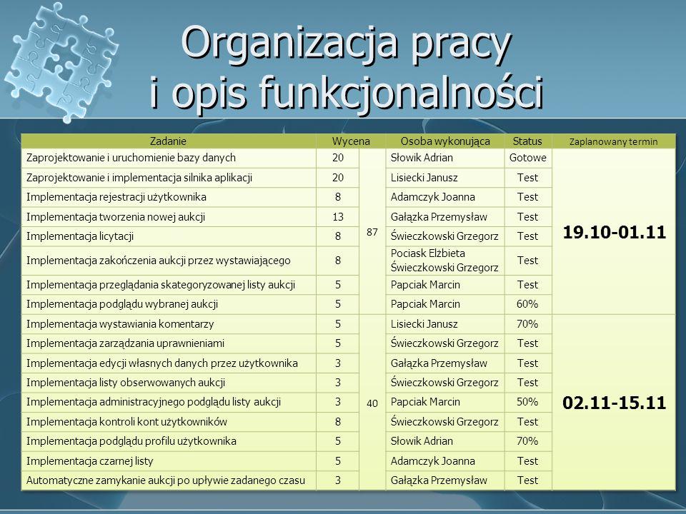 Organizacja pracy i opis funkcjonalności