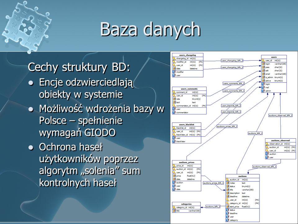 Baza danych Cechy struktury BD: Encje odzwierciedlają obiekty w systemie Możliwość wdrożenia bazy w Polsce – spełnienie wymagań GIODO Ochrona haseł uż
