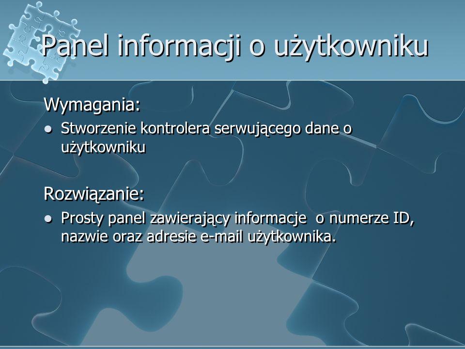 Panel informacji o użytkowniku Wymagania: Stworzenie kontrolera serwującego dane o użytkowniku Rozwiązanie: Prosty panel zawierający informacje o nume