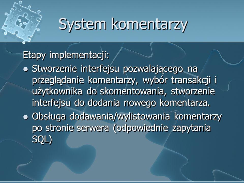 System komentarzy Etapy implementacji: Stworzenie interfejsu pozwalającego na przeglądanie komentarzy, wybór transakcji i użytkownika do skomentowania