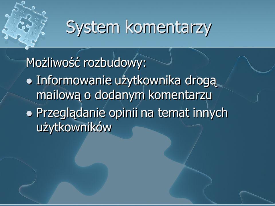 System komentarzy Możliwość rozbudowy: Informowanie użytkownika drogą mailową o dodanym komentarzu Przeglądanie opinii na temat innych użytkowników Mo