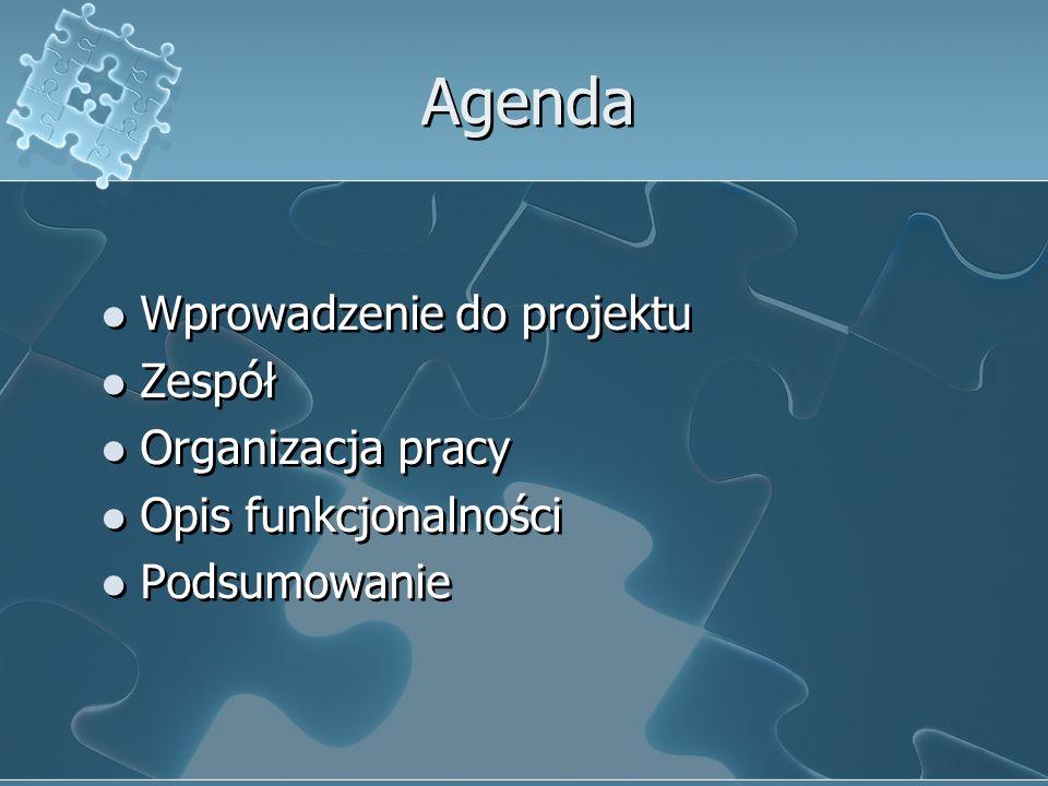 Agenda Wprowadzenie do projektu Zespół Organizacja pracy Opis funkcjonalności Podsumowanie Wprowadzenie do projektu Zespół Organizacja pracy Opis funk