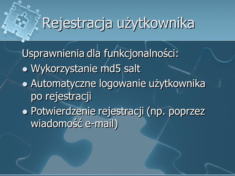 Rejestracja użytkownika Usprawnienia dla funkcjonalności: Wykorzystanie md5 salt Automatyczne logowanie użytkownika po rejestracji Potwierdzenie rejes