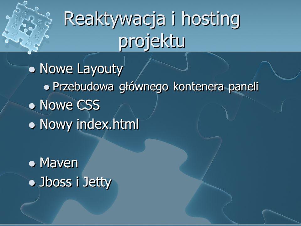 Reaktywacja i hosting projektu Nowe Layouty Przebudowa głównego kontenera paneli Nowe CSS Nowy index.html Maven Jboss i Jetty Nowe Layouty Przebudowa