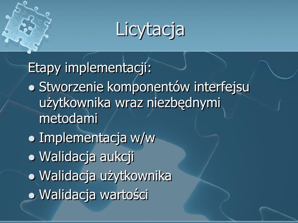 Licytacja Etapy implementacji: Stworzenie komponentów interfejsu użytkownika wraz niezbędnymi metodami Implementacja w/w Walidacja aukcji Walidacja uż