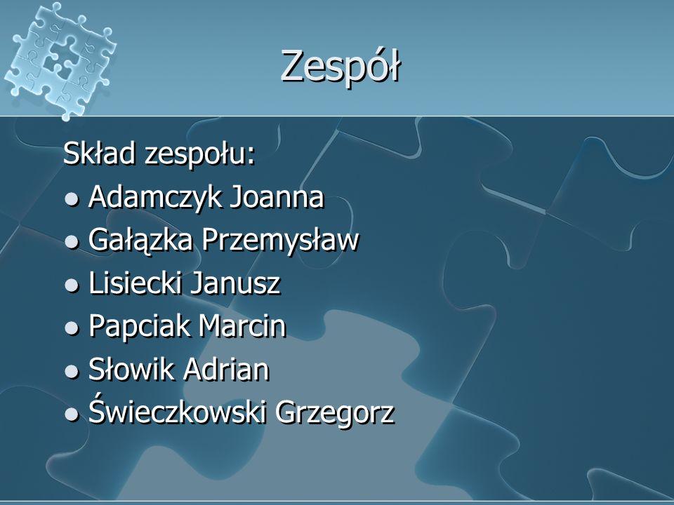 Zespół Skład zespołu: Adamczyk Joanna Gałązka Przemysław Lisiecki Janusz Papciak Marcin Słowik Adrian Świeczkowski Grzegorz Skład zespołu: Adamczyk Jo