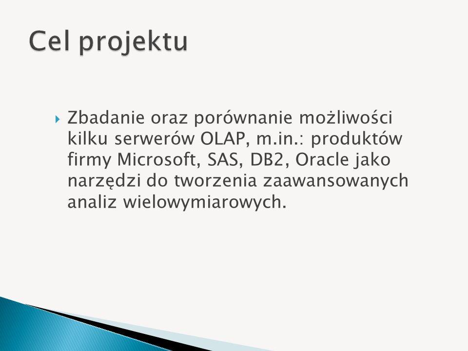 Zbadanie oraz porównanie możliwości kilku serwerów OLAP, m.in.: produktów firmy Microsoft, SAS, DB2, Oracle jako narzędzi do tworzenia zaawansowanych