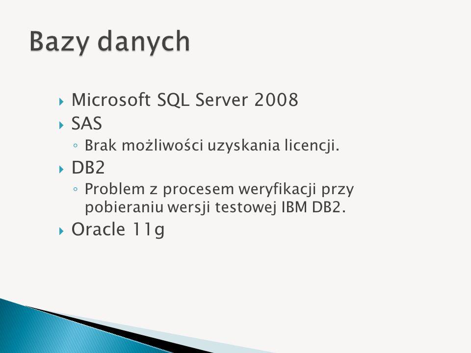 Microsoft SQL Server 2008 SAS Brak możliwości uzyskania licencji. DB2 Problem z procesem weryfikacji przy pobieraniu wersji testowej IBM DB2. Oracle 1