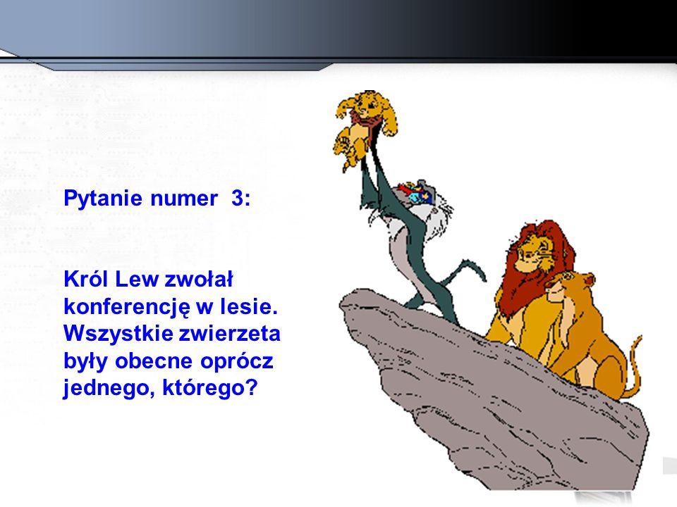 Pytanie numer 3: Król Lew zwołał konferencję w lesie. Wszystkie zwierzeta były obecne oprócz jednego, którego?