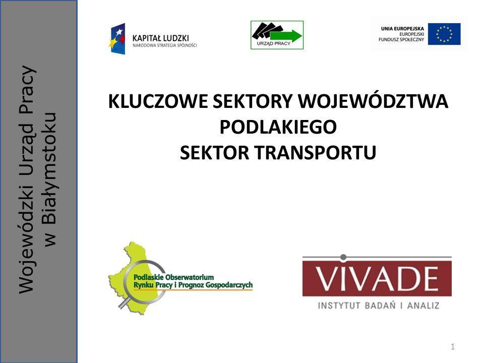 Wojewódzki Urząd Pracy w Białymstoku KLUCZOWE SEKTORY WOJEWÓDZTWA PODLAKIEGO SEKTOR TRANSPORTU 1