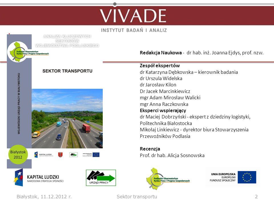 Białystok, 11.12.2012 r.Sektor transportu2 Redakcja Naukowa - dr hab.