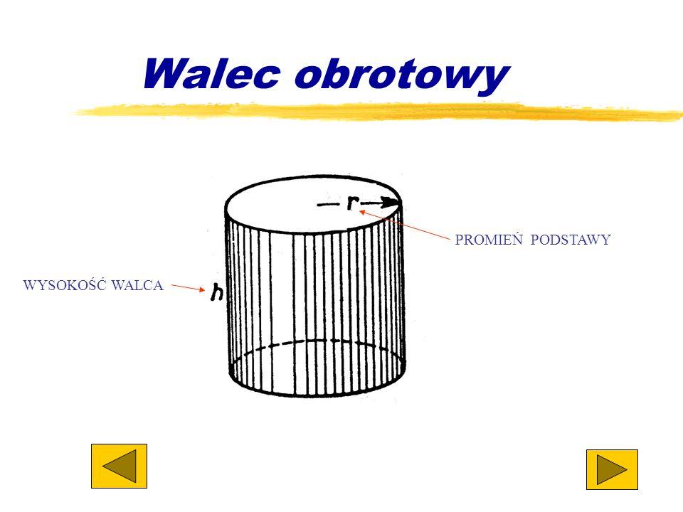 - jest to bryła ograniczona powierzchnią cylindryczną o kierującej zamkniętej oraz dwiema płaszczyznami równoległymi stanowiącymi podstawy walca. Wale