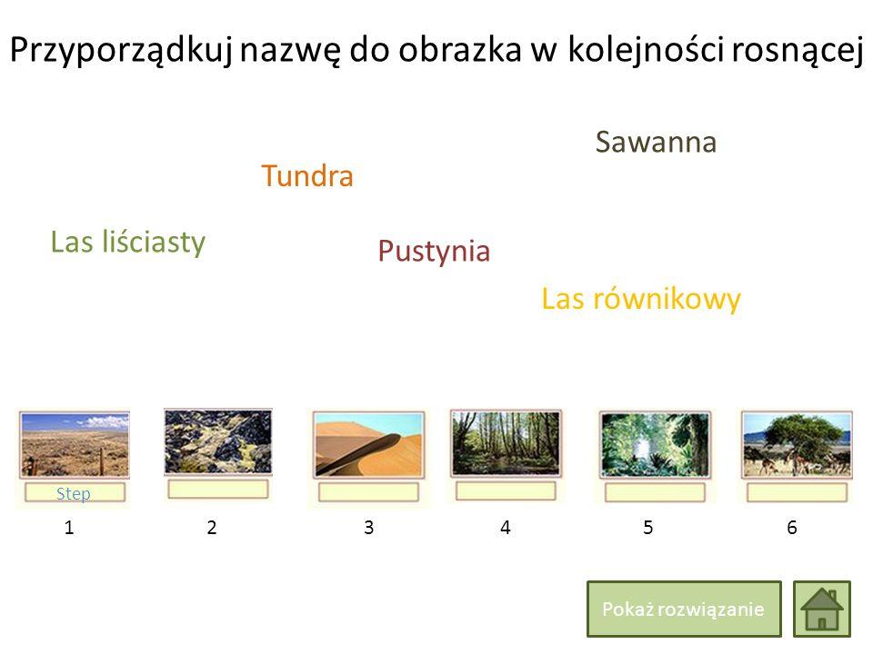 Przyporządkuj nazwę do obrazka w kolejności rosnącej 214365 Las liściasty Las równikowy Sawanna Tundra Step Pustynia Pokaż rozwiązanie