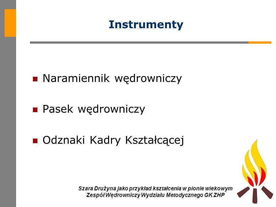 8 Szara Drużyna jako przykład kształcenia w pionie wiekowym Zespół Wędrowniczy Wydziału Metodycznego GK ZHP Instrumenty Naramiennik wędrowniczy Pasek