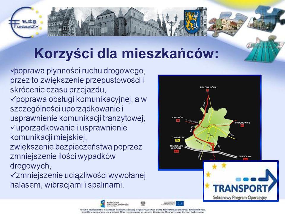 poprawa płynności ruchu drogowego, przez to zwiększenie przepustowości i skrócenie czasu przejazdu, poprawa obsługi komunikacyjnej, a w szczególności uporządkowanie i usprawnienie komunikacji tranzytowej, uporządkowanie i usprawnienie komunikacji miejskiej, zwiększenie bezpieczeństwa poprzez zmniejszenie ilości wypadków drogowych, zmniejszenie uciążliwości wywołanej hałasem, wibracjami i spalinami.
