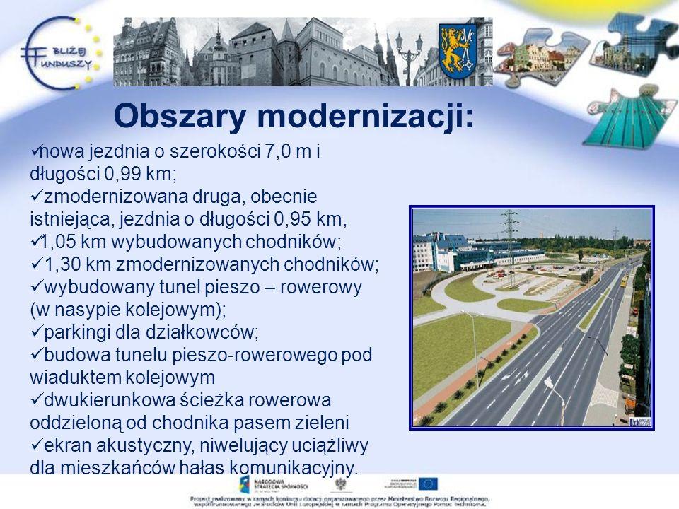 nowa jezdnia o szerokości 7,0 m i długości 0,99 km; zmodernizowana druga, obecnie istniejąca, jezdnia o długości 0,95 km, 1,05 km wybudowanych chodników; 1,30 km zmodernizowanych chodników; wybudowany tunel pieszo – rowerowy (w nasypie kolejowym); parkingi dla działkowców; budowa tunelu pieszo-rowerowego pod wiaduktem kolejowym dwukierunkowa ścieżka rowerowa oddzieloną od chodnika pasem zieleni ekran akustyczny, niwelujący uciążliwy dla mieszkańców hałas komunikacyjny.