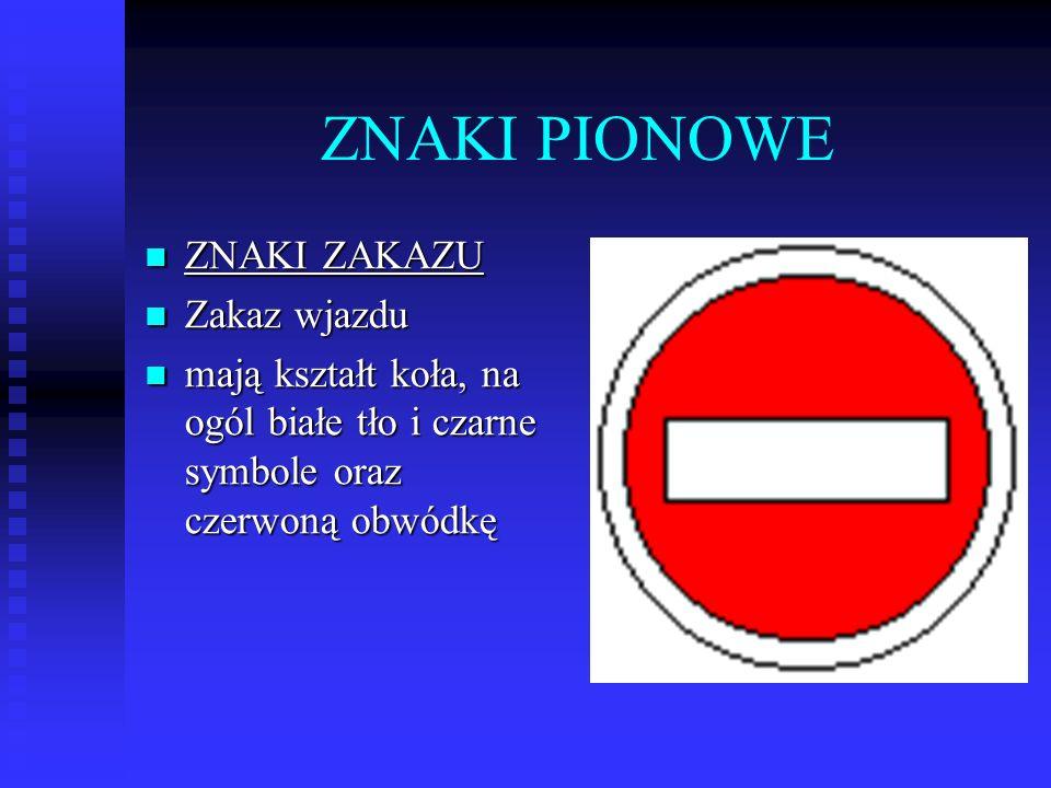 ZNAKI PIONOWE ZNAKI ZAKAZU ZNAKI ZAKAZU Zakaz wjazdu Zakaz wjazdu mają kształt koła, na ogól białe tło i czarne symbole oraz czerwoną obwódkę mają kształt koła, na ogól białe tło i czarne symbole oraz czerwoną obwódkę