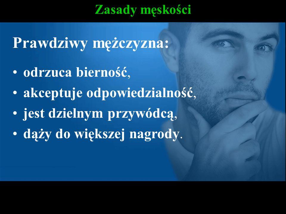 Zasady męskości Prawdziwy mężczyzna: odrzuca bierność, akceptuje odpowiedzialność, jest dzielnym przywódcą, dąży do większej nagrody.