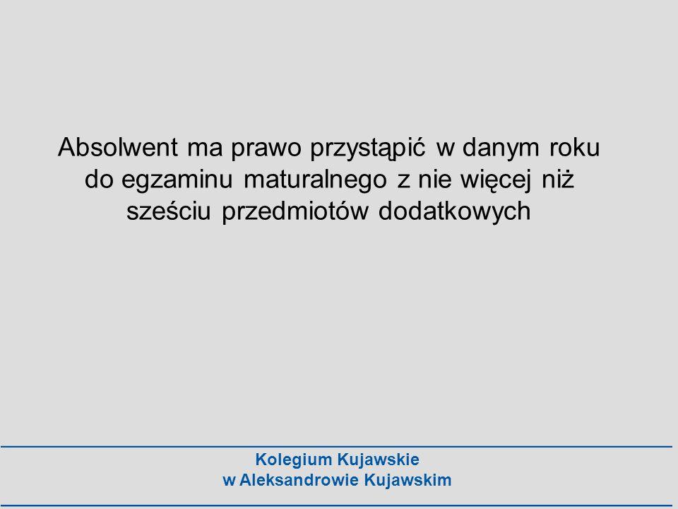 Kolegium Kujawskie w Aleksandrowie Kujawskim Absolwent ma prawo przystąpić w danym roku do egzaminu maturalnego z nie więcej niż sześciu przedmiotów d