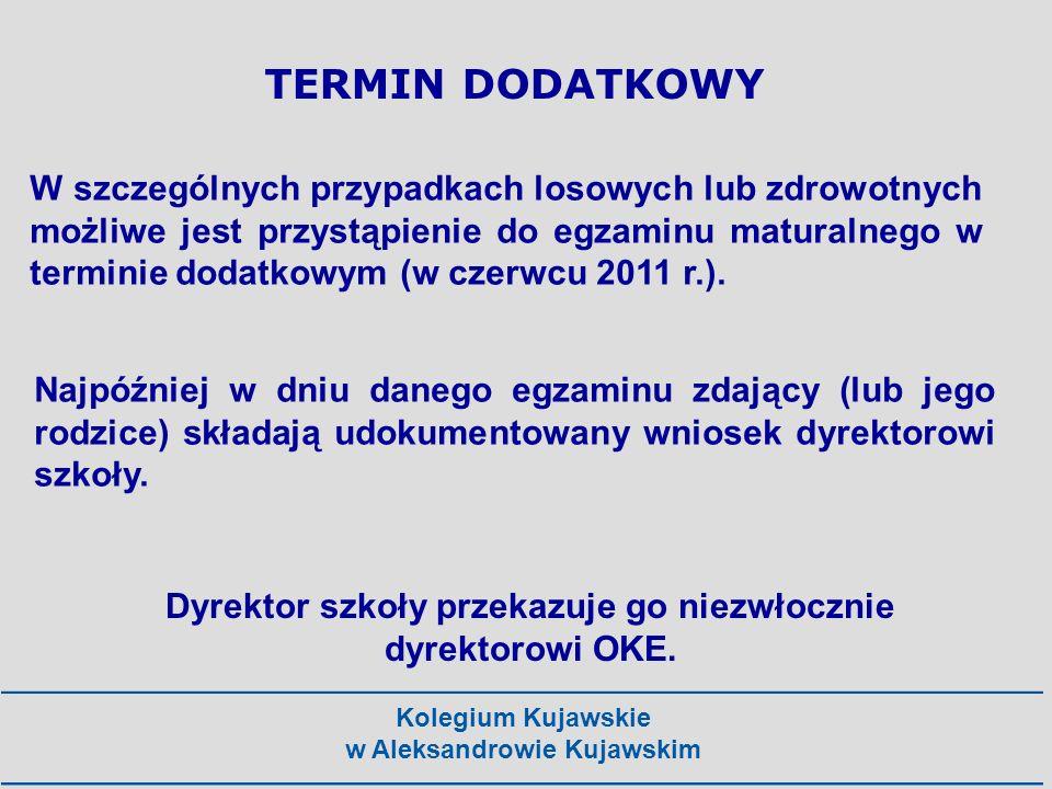 Kolegium Kujawskie w Aleksandrowie Kujawskim TERMIN DODATKOWY W szczególnych przypadkach losowych lub zdrowotnych możliwe jest przystąpienie do egzami