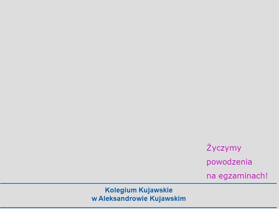 Kolegium Kujawskie w Aleksandrowie Kujawskim Życzymy powodzenia na egzaminach!