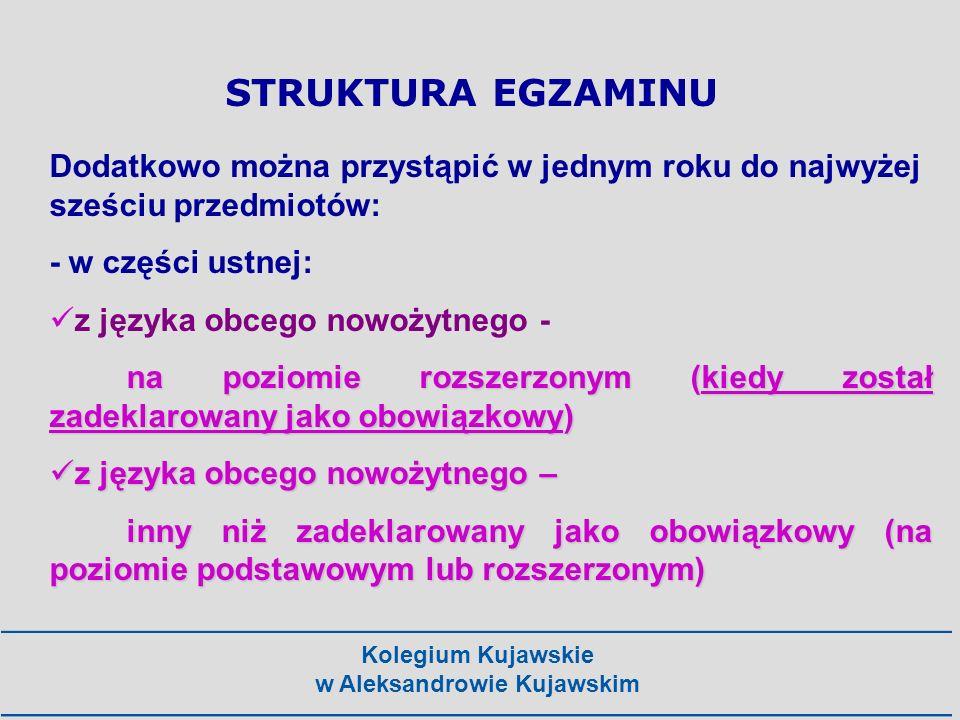 Kolegium Kujawskie w Aleksandrowie Kujawskim na poziomie rozszerzonym: - z języka polskiego, - matematyki, - języka obcego nowożytnego (tego samego co zadeklarowany obowiązkowy) na poziomie podstawowym lub rozszerzonym: - biologii, chemii, filozofii, fizyki i astronomii, geografii, historii, historii muzyki, historii sztuki, informatyki, wiedzy o społeczeństwie, wiedzy o tańcu STRUKTURA EGZAMINU Dodatkowo można przystąpić w części pisemnej: