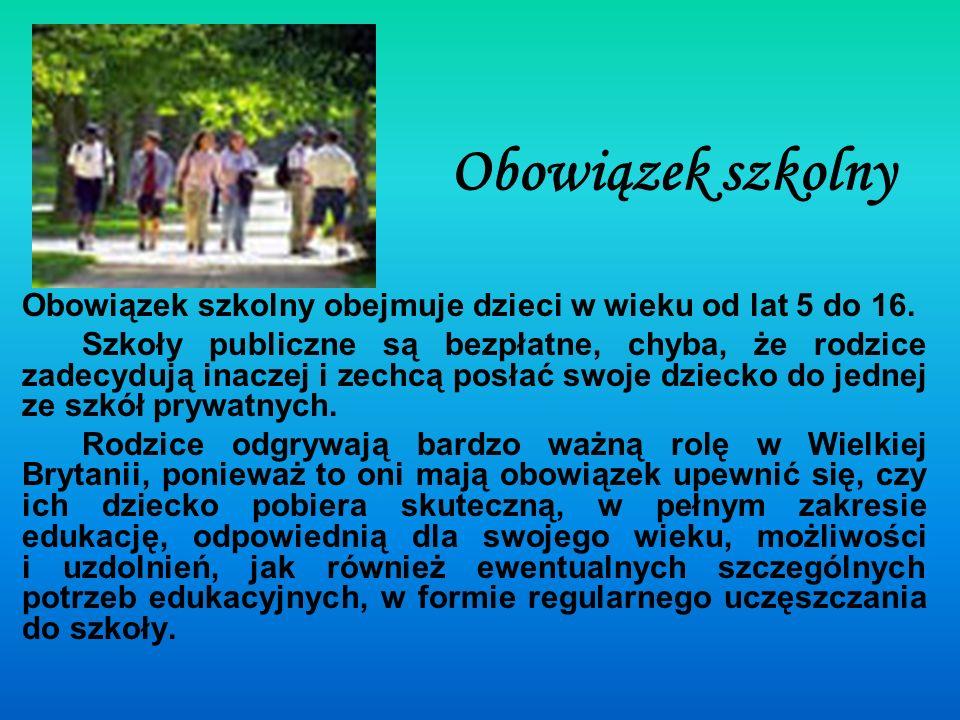 Obowiązek szkolny Obowiązek szkolny obejmuje dzieci w wieku od lat 5 do 16.