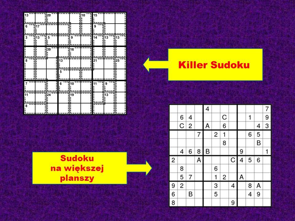 Killer Sudoku Sudoku na większej planszy