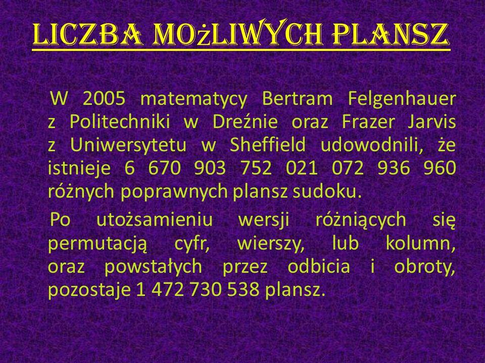Liczba mo ż liwych plansz W 2005 matematycy Bertram Felgenhauer z Politechniki w Dreźnie oraz Frazer Jarvis z Uniwersytetu w Sheffield udowodnili, że