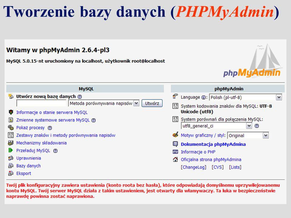 Tworzenie bazy danych (PHPMyAdmin)