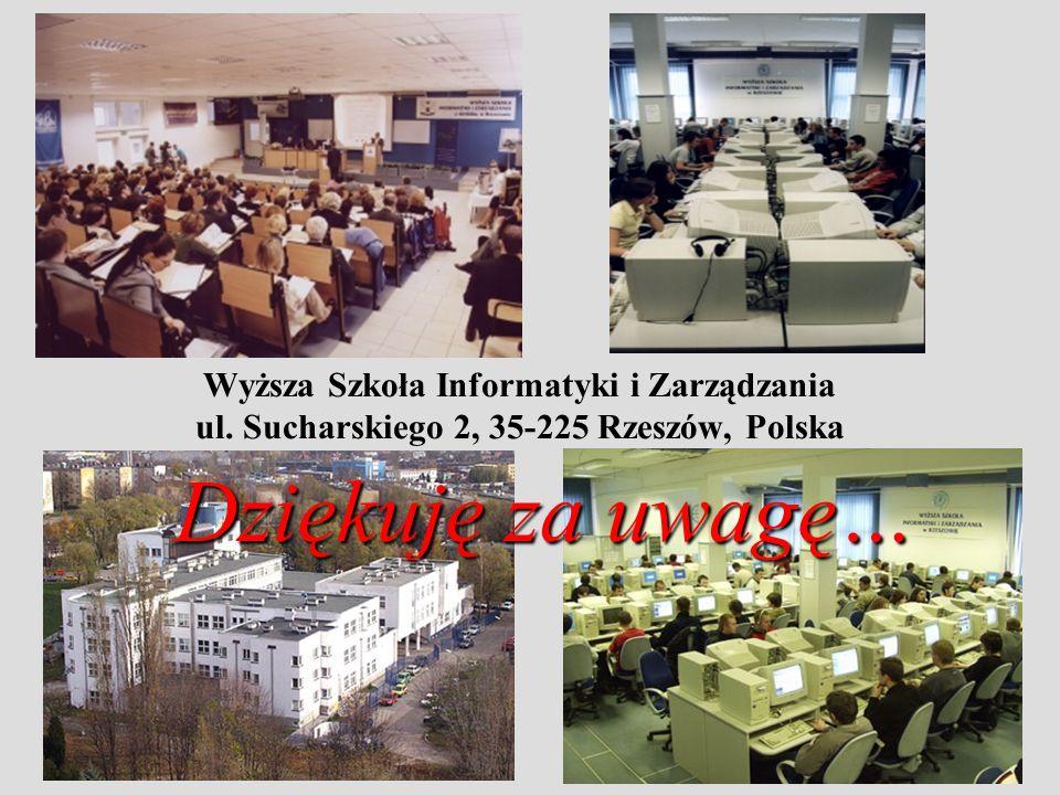 Wyższa Szkoła Informatyki i Zarządzania ul. Sucharskiego 2, 35-225 Rzeszów, Polska Dziękuję za uwagę…