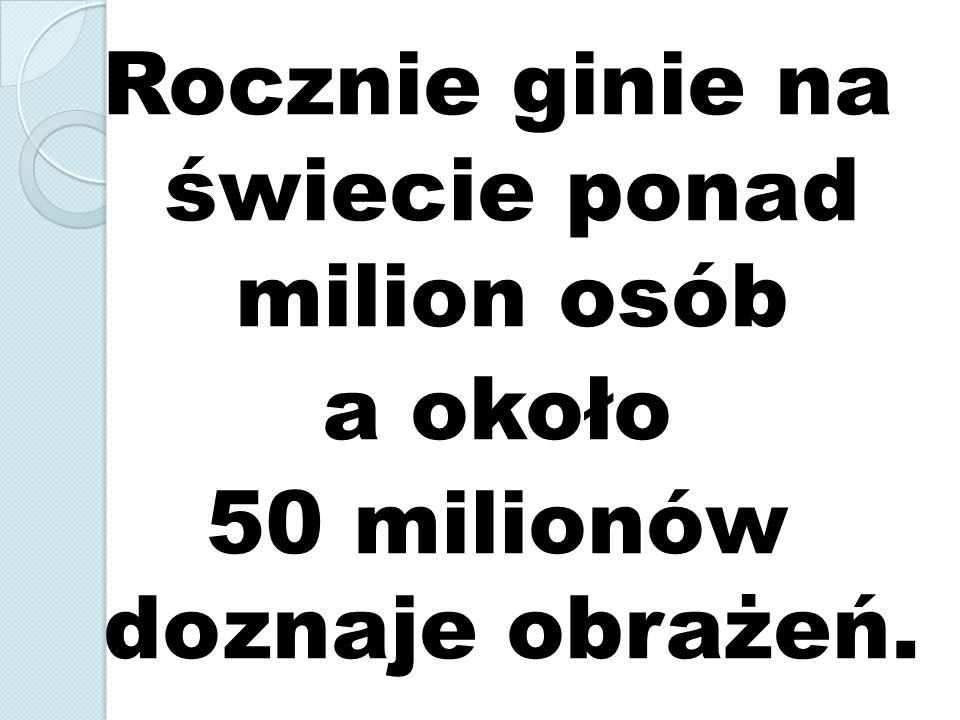 W Polsce w 2009 r.było 44 196 wypadków drogowych.